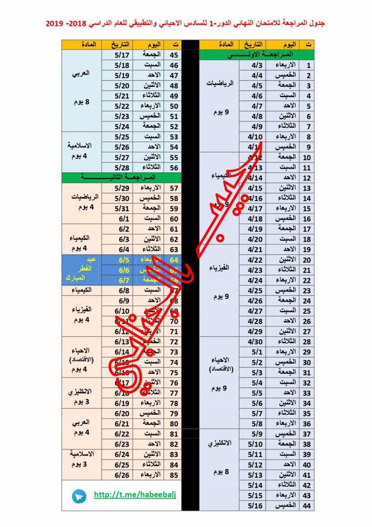 جدول المراجعة للامتحانات النهائية الدور الاول للصف السادس الاحيائي والتطبيقي 2019