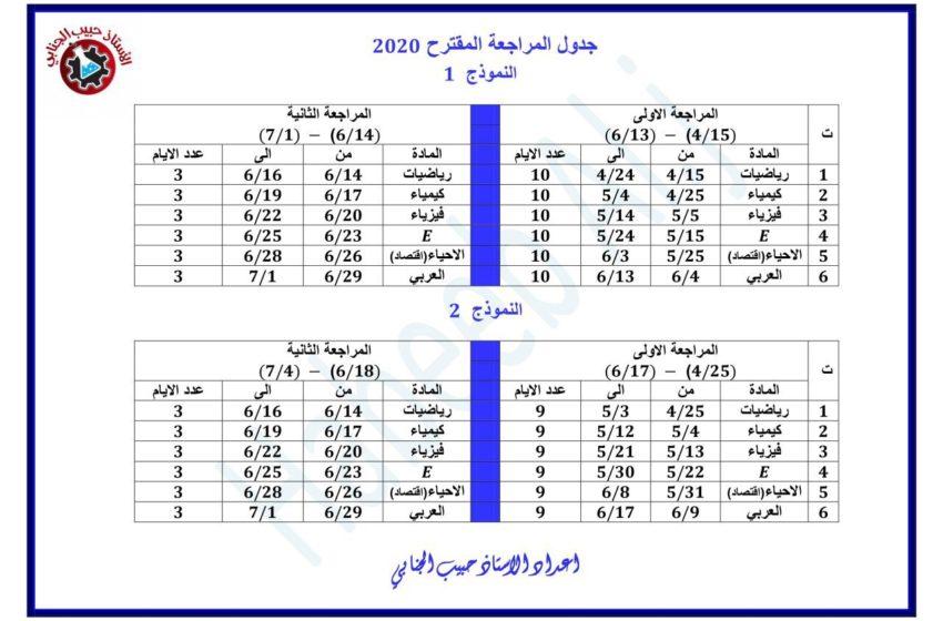 جدول المراجعة للامتحان الوزاري 2020 . اعداد الاستاذ حبيب الجنابي
